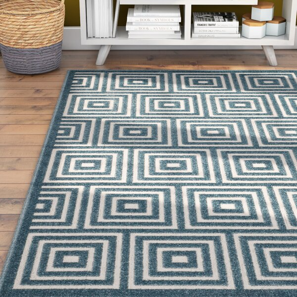 Candor Contemporary Blue Outdoor Area Rug by George Oliver