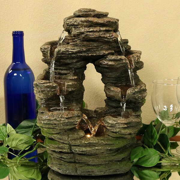 Polyresin Split Mossy Rock Falls Tabletop Water Fountain with Light by Wildon Home ®