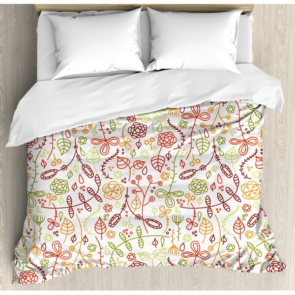 Nature Autumn Leaves Hand Drawn Colorful Lines Harvest Season Spring Image Duvet Set by East Urban Home