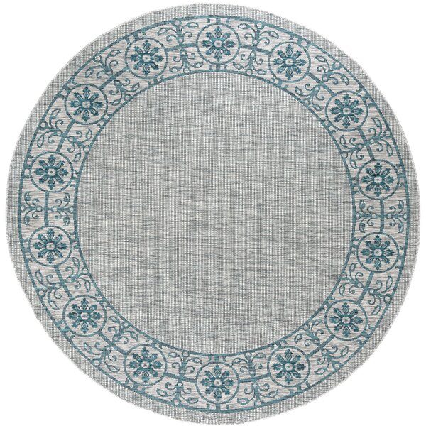 Mann Traditional Teal Indoor/Outdoor Area Rug by World Menagerie