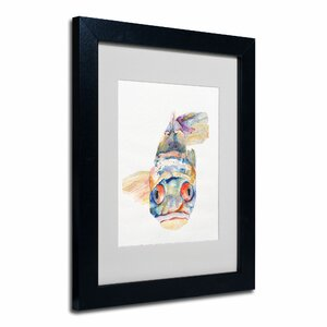 Blue Fish by Pat Saunders-White Matted Framed Painting Print by Trademark Fine Art