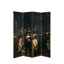 71 x 51.66 Tall Double Sided Works of Rembrandt Canvas 4 Panel Room Divider by Oriental Furniture