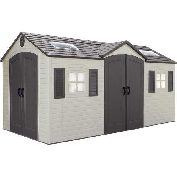 Dual Entry 14 ft. 7 in. W x 7 ft. 8 in. D Plastic Storage Shed by Lifetime
