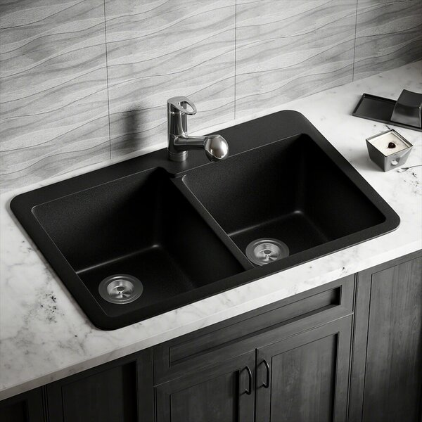 Granite Composite 33 L x 22 W Double Basin Drop-in Kitchen Sink by MR Direct