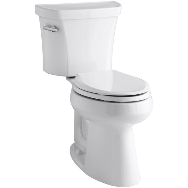 Highline Two-Piece Elongated 1.28 GPF Toilet with Class Five Flush Technology and Left-Hand Trip Lever by Kohler