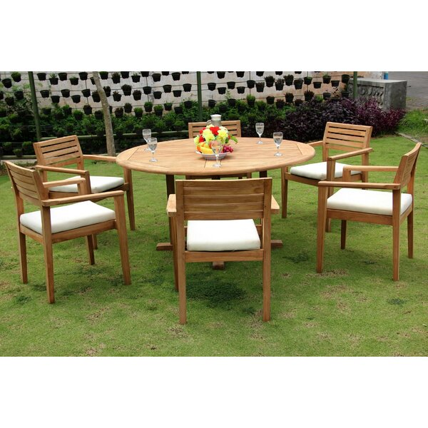 Loraine Luxurious 7 Piece Teak Dining Set by Rosecliff Heights