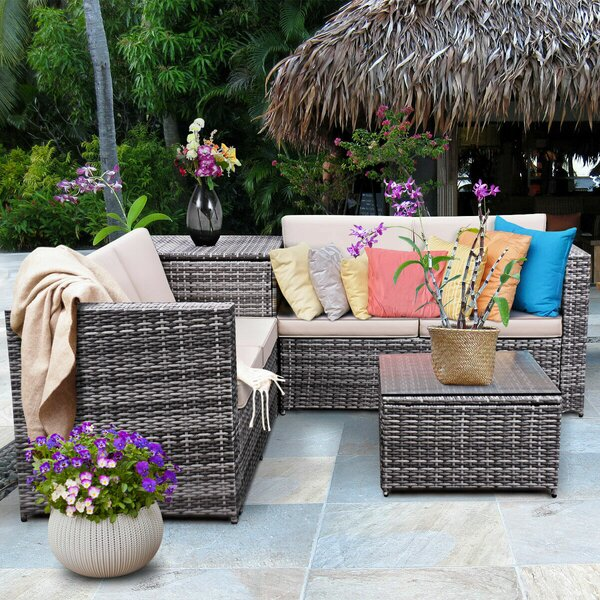 Gleeson 4 Piece Patio Rattan Sofa Seating Group with Cushions by Wrought Studio Wrought Studio