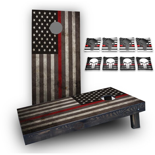 Punisher Red Line American Flag Custom 10 Piece Cornhole Board Set by Custom Cornhole Boards