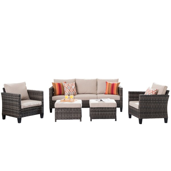 Kelvan 5 Piece Rattan Sectional Seating Group with Cushions by Latitude Run Latitude Run