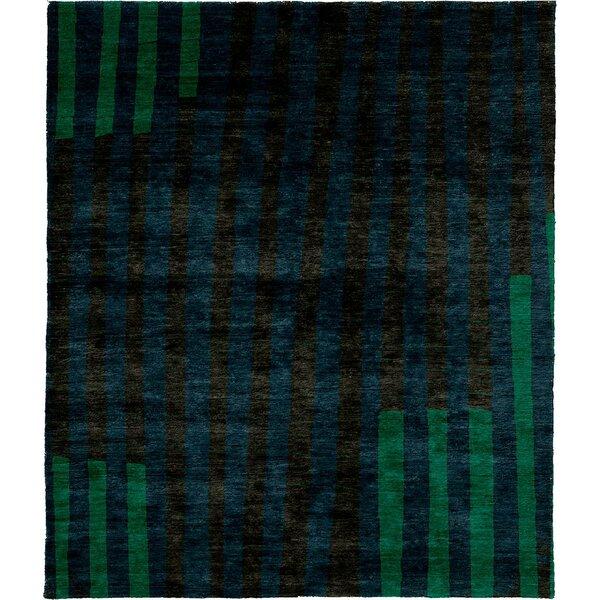 One-of-a-Kind Zamudio Hand-Knotted Tibetan Dark Blue 8' Round Wool Area Rug