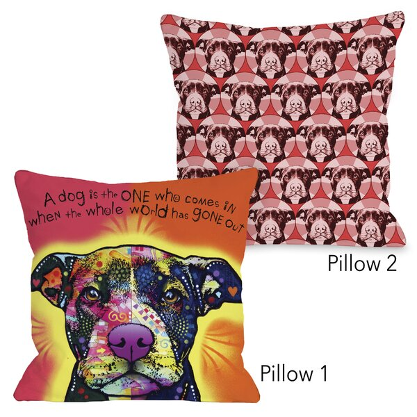 Maiden Lane Love a Bull Pattern and Love a Bull Text 2 Piece Throw Pillow Set by Winston Porter