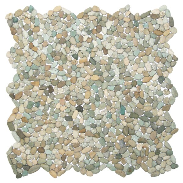 Danube Random Sized Natural Stone Mosaic Tile in Beige/Green by CNK Tile