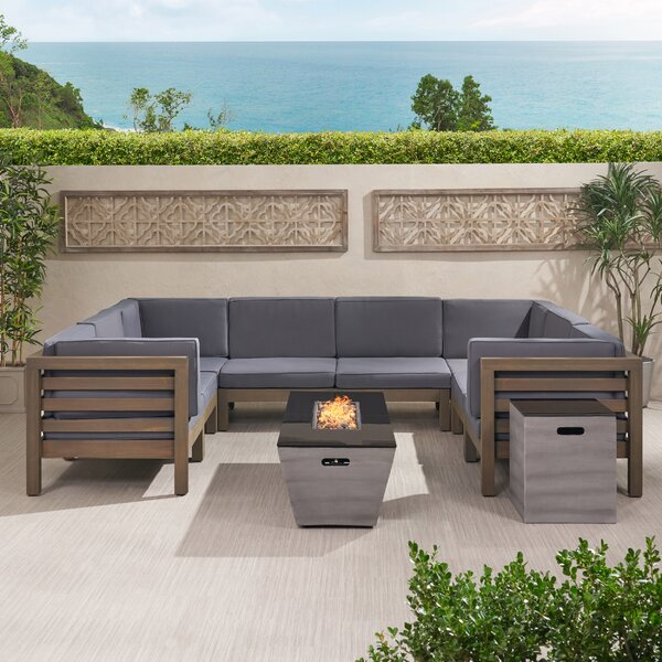 Darcy Outdoor Modern 8 Seater Acacia Wood Sectional Sofa Set With Fire Pit And Tank Holder by Brayden Studio