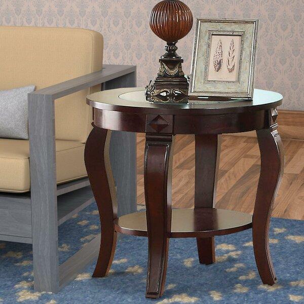 Torrez Glass Insert Top Round Wooden End Table By Fleur De Lis Living