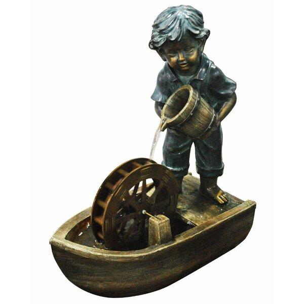 Boy with Bucket Boat Fountain by Benzara