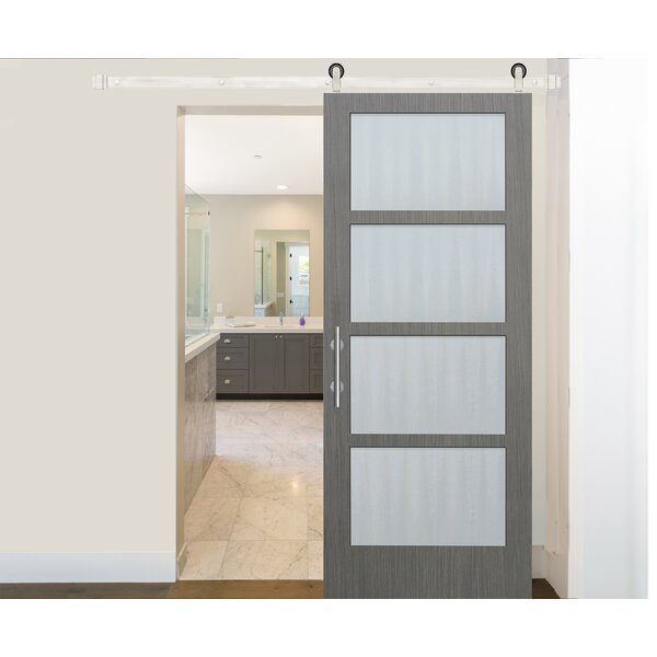 Prefinished 4 Lite Driftwood Solid Glass Wood Interior Barn Door by Creative Entryways