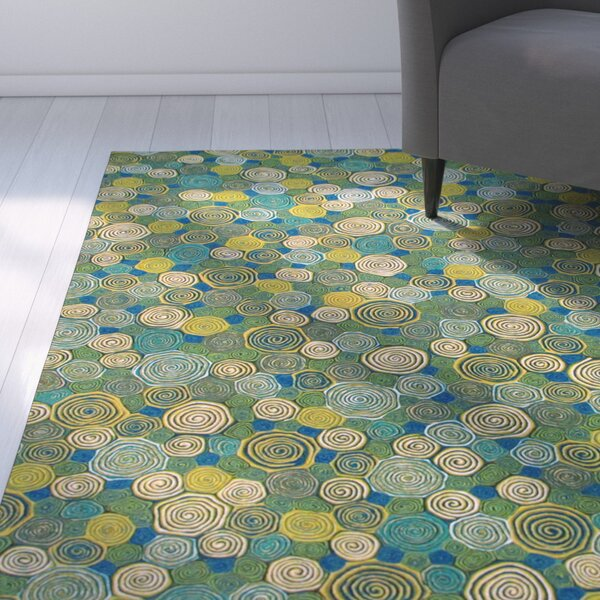 Derek Swirls Indoor/Outdoor Rug by Ebern Designs