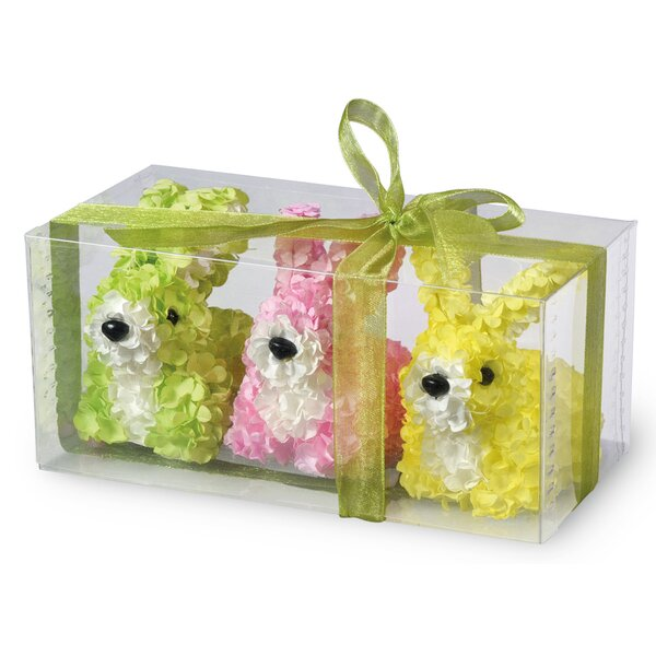 3 Piece Hydrangea Bunny Statue Set by The Holiday Aisle