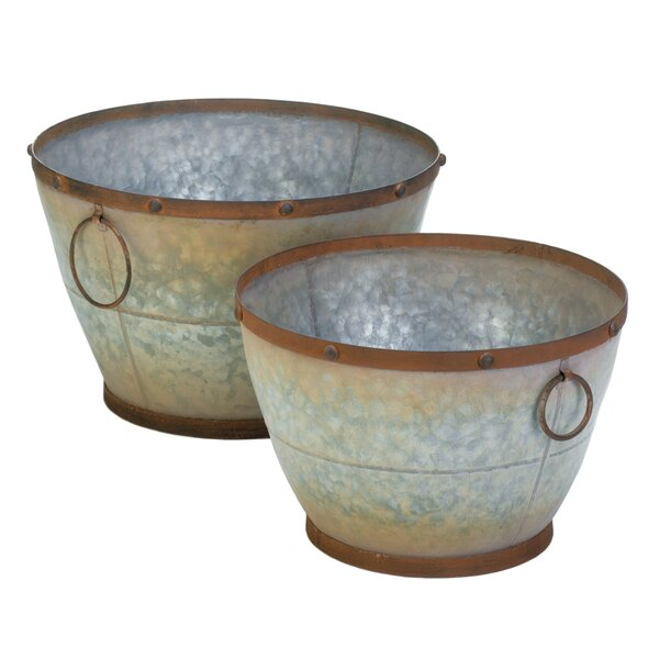 Tapered Galvanized 2-Piece Iron Zinc Alloy Pot Planter Set by Zingz & Thingz