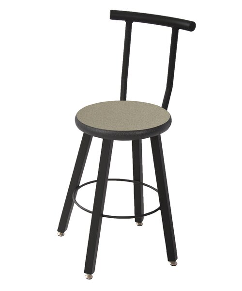 28 Adjustable Height Round Laminate Armor Edge Seat 4 Leg Stool with Backrest by WB Manufacturing
