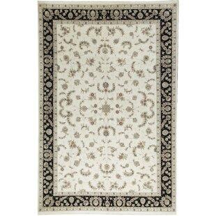 Top Reviews One-of-a-Kind Elegance Select Handwoven 12' x 18' Wool/Silk Ivory/Black Area Rug ByBokara Rug Co., Inc.