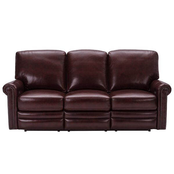 Barris Leather Reclining Sofa By Canora Grey