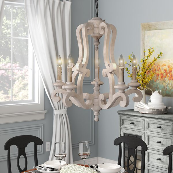 Bella 5 - Light Candle Style Classic / Traditional Chandelier With Wood Accent By Ophelia & Co.