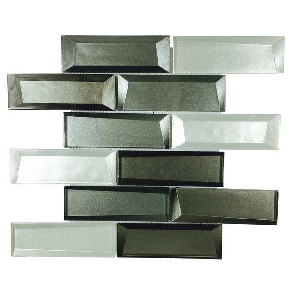 Galaxy Mix 2'' x 6'' Glass Mosaic Tile in Silver Gray/Graphite by Byzantin Mosaic