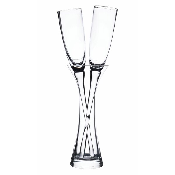 3 Piece Long Stemmed Toasting 6 Oz. Champagne Flute with Vase Set by Lillian Rose