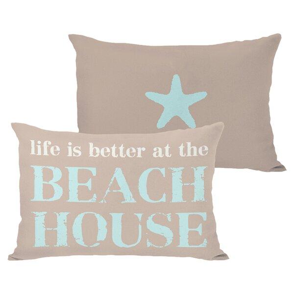 Better at the Beach House Outdoor Lumbar Pillow by One Bella Casa