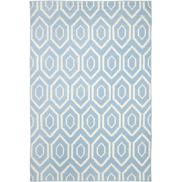 Gem Jam Hand-Woven Wool Blue/Ivory Area Rug by Birch Lane Kids™