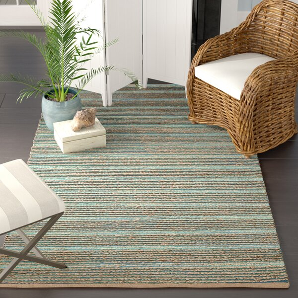 Marshville Hand-Woven Aqua/Beige Area Rug by Beachcrest Home