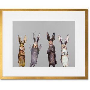 Four Bunnies on Grey by Eli Halpin Framed Painting Print in Gray by GreenBox Art