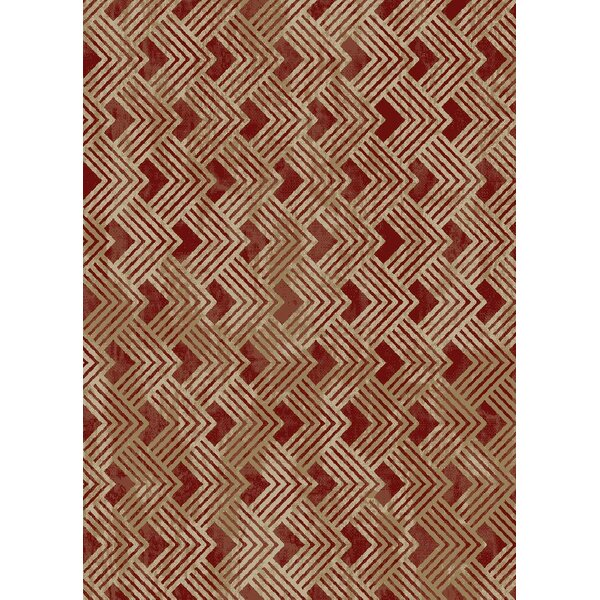 Idlewild Pyramid Claret Beige/Red Area Rug by Breakwater Bay
