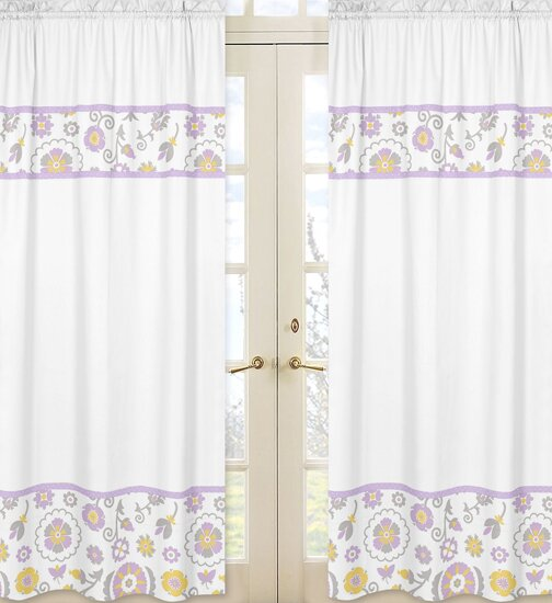 Suzanna Nature/Floral Semi-Sheer Rod pocket Curtain Panels (Set of 2) by Sweet Jojo Designs