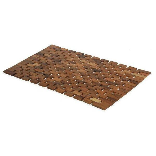 Arinda Acacia Natural Wood Non-Sliding Shower Mat by Bloomsbury Market