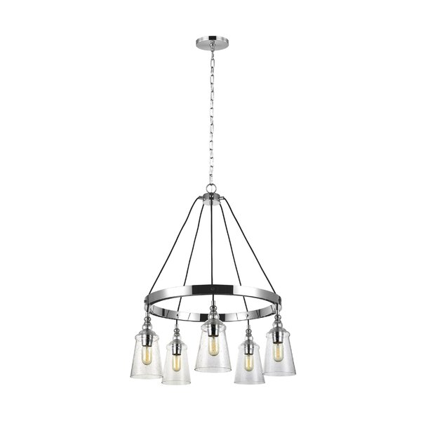 Sharwari 5 - Light Shaded Wagon Wheel Chandelier by Gracie Oaks Gracie Oaks