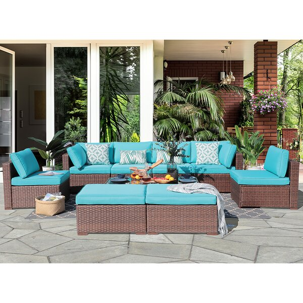 Alishah 10 Piece Rattan Sectional Seating Group with Cushions