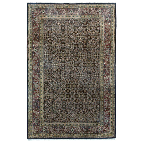 One-of-a-Kind Gia Oriental Hand-Knotted Wool Black Area Rug by Isabelline