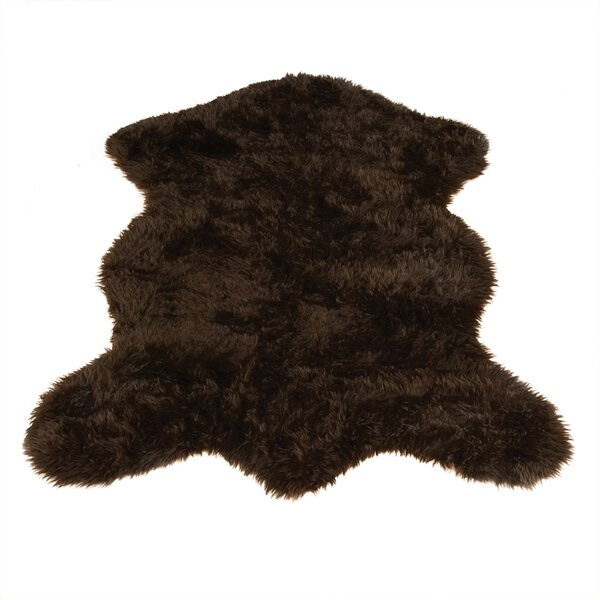 Animal Pelt Faux Sheepskin Brown Area Rug by Walk On Me