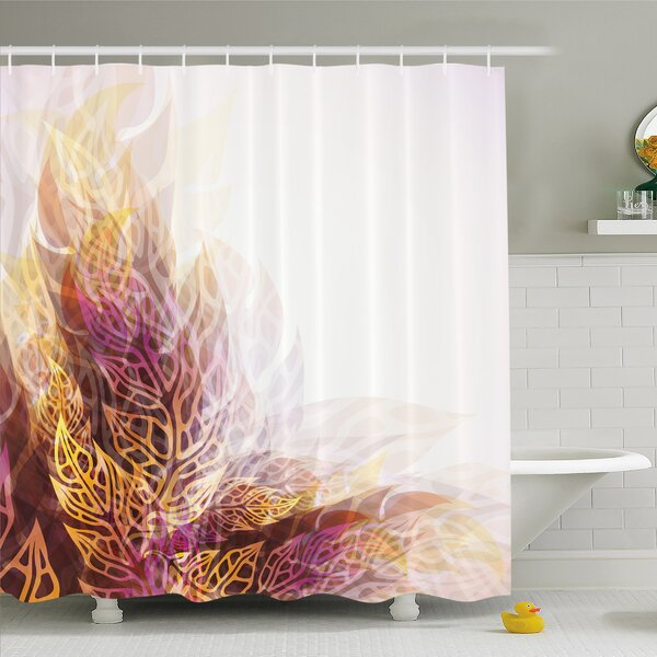 Modern Art Home Psychedelic Floral with Blurry Leaf Visuals and Dynamic Effects Shower Curtain Set by Ambesonne