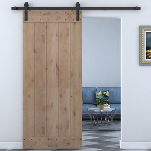 Bent Strap Sliding Door Track Hardware And Vertical Slat Primed Sliding  Knotty Solid Wood Panelled Alder Slab Interior Barn Door