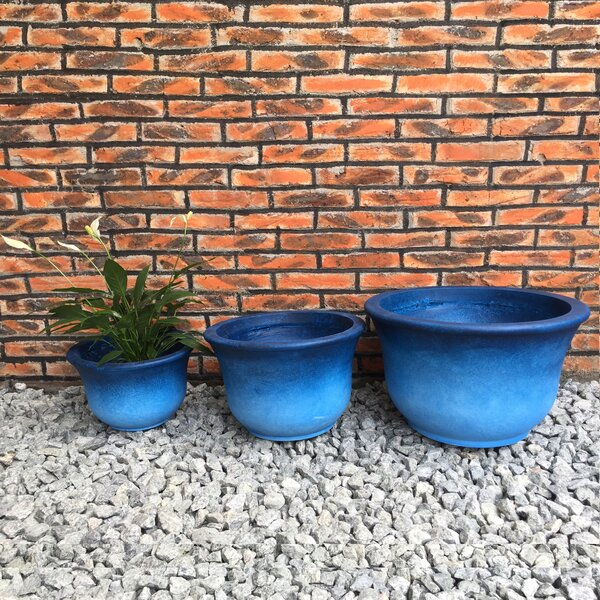 Justine Low Bell 3-Piece Pot Planter Set by World Menagerie