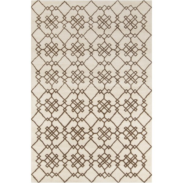 Krausgrill Patterned Contemporary Wool Cream/Brown Area Rug by Darby Home Co