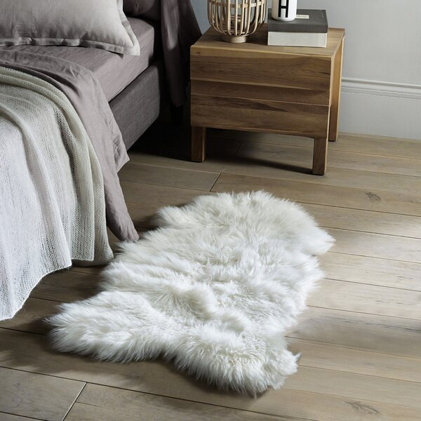 Thurston Faux Sheepskin White Area Rug by Everly Quinn