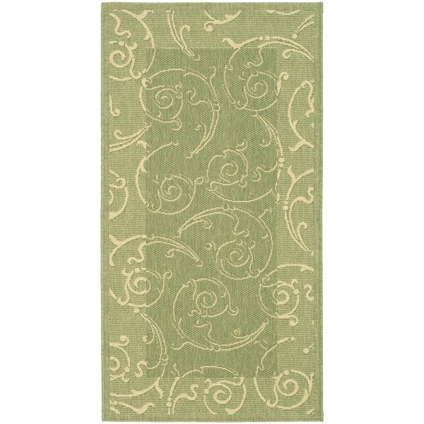 Unique Indoor/Outdoor Maribelle Olive/Natural Area Rug by Ophelia & Co.