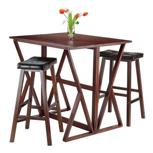 Brayan 3 Piece Drop Leaf Solid Wood Dining Set by Latitude Run