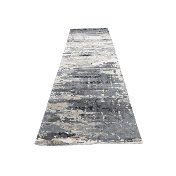One-of-a-Kind Nason Abstract Hand-Knotted Silk Gray Area Rug by Williston Forge