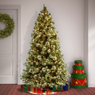 75 whitegreen pine trees artificial chritmas tree with 650 incandescent clearwhite lights with stand