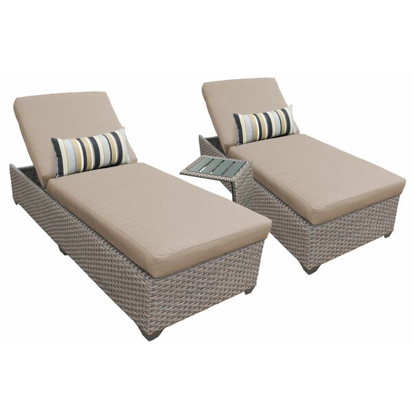 Reclining Chaise Lounge Set with Cushions and Table by TK Classics